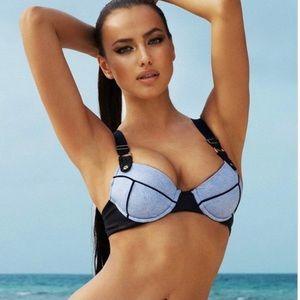 Beach Bunny Faux Denim Bikini Top